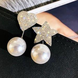 Beautiful Rhinestone Asymmetrical Earrings